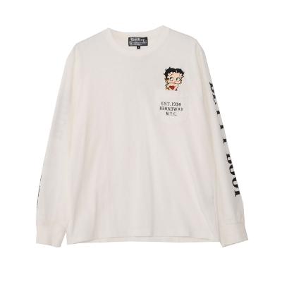 Betty Boop embroidery Crew neck long sleeve pocket T-shirt